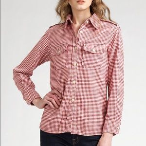 CURRENT/ELLIOTT The Perfect Shirt Red Gingham 0 XS